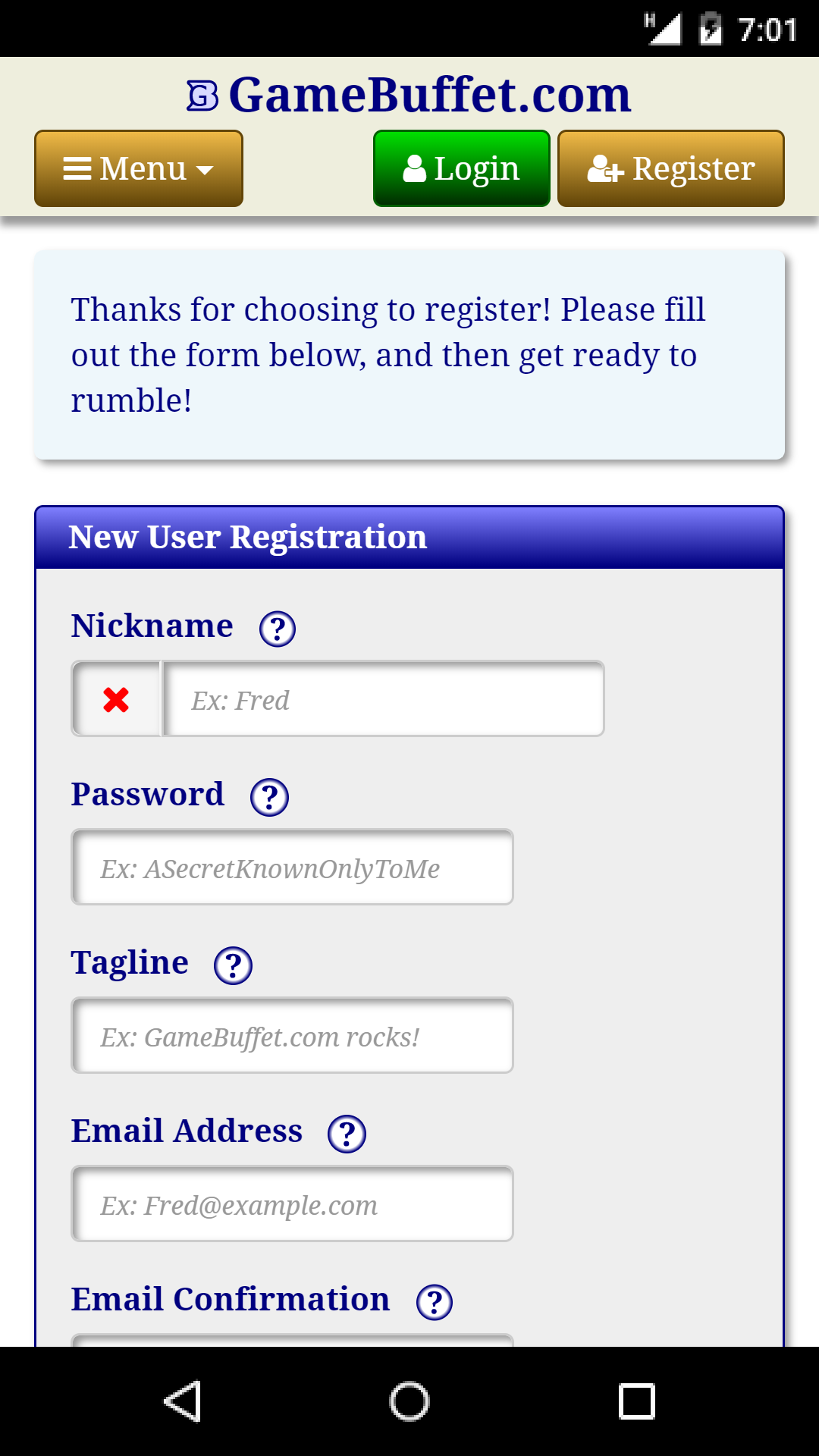 Registration on Mobile